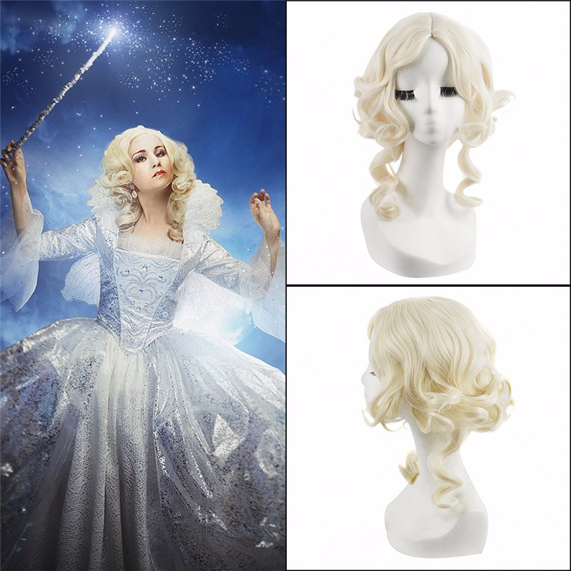 Bleach Blonde Cinderella Fairy Godmother Cosplay Wig,Cinderella Fairy Godmother 40cm Golden Fluffy curly Lolita Fashion women sexy Cosplay Wig