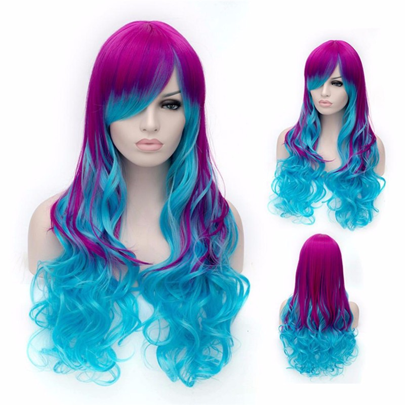 Long cosplay wig ombre body wave purple Blue wig