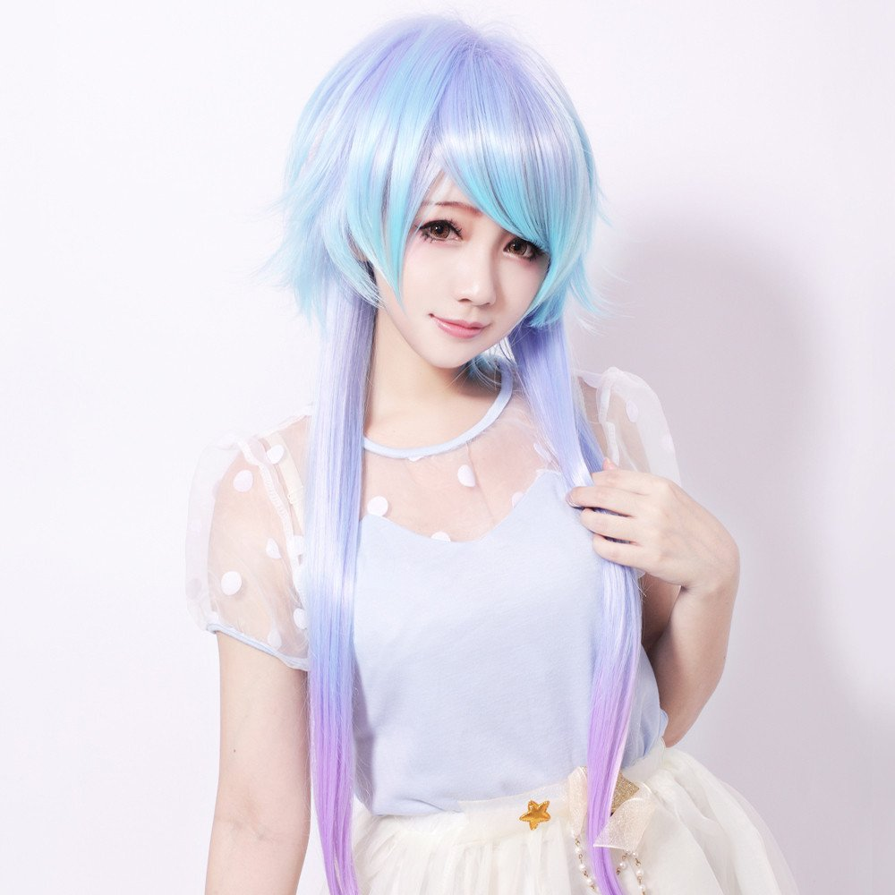 Ombre color Long straight Harajuku wig,lolita girl cosplay wig