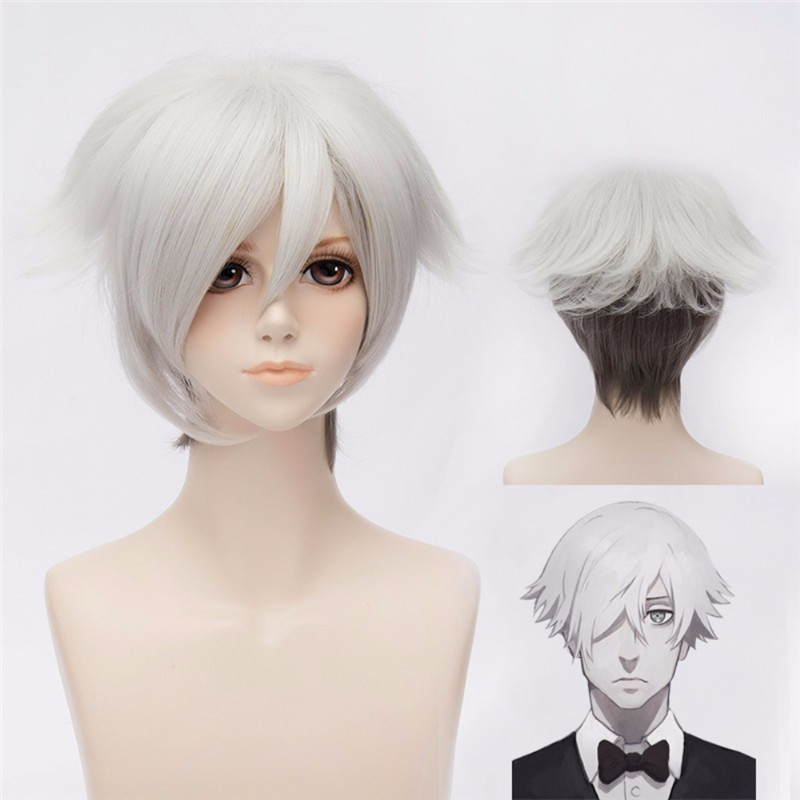 Cosplay Death Parade Decim Wig short cosplay silver color wig,death parade decim fanart wig