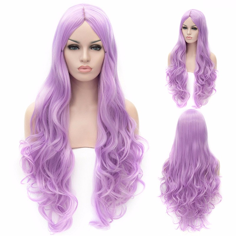 Light Purple Long Curly Euramerican Style Cosplay Wig,light purple women central parting party long curly wavy hairstyle cosplay wigs