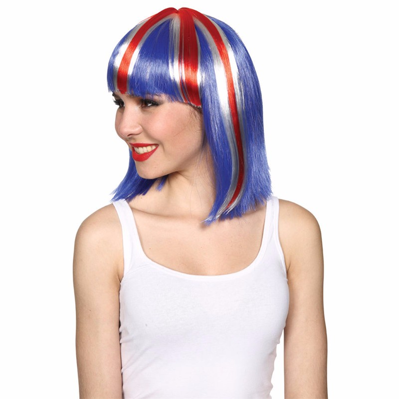 GB Union Jack Blue/White/Red Afro Fancy Dress Wig