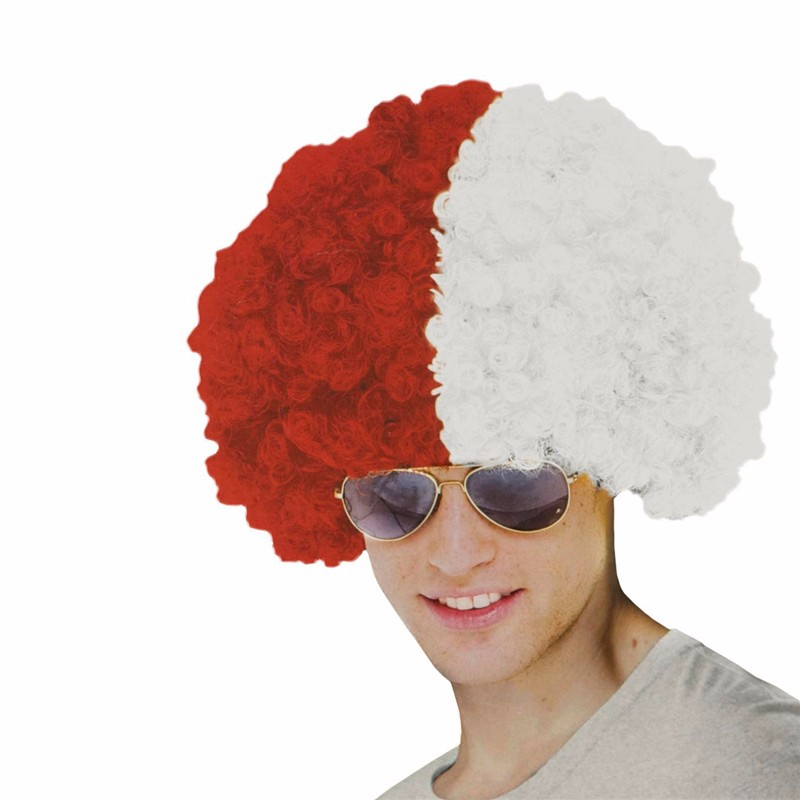 Red and White Afro Fans Wig