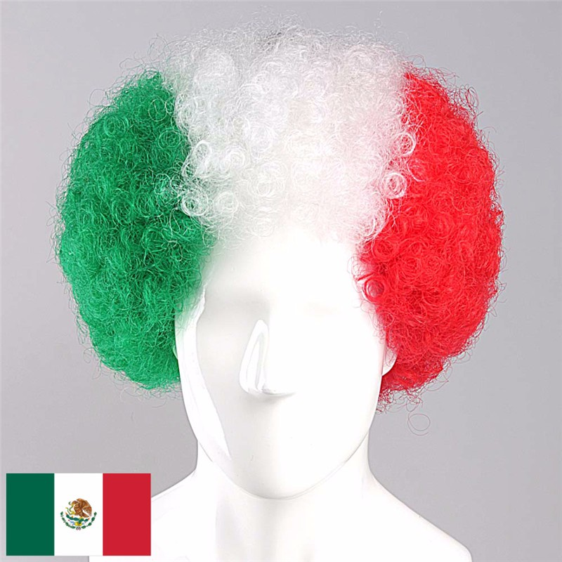Mexico Flag Green White Red Afro Wig