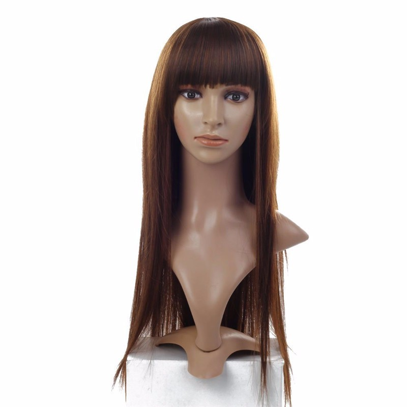 Neat bang straight brown synthetic full wig