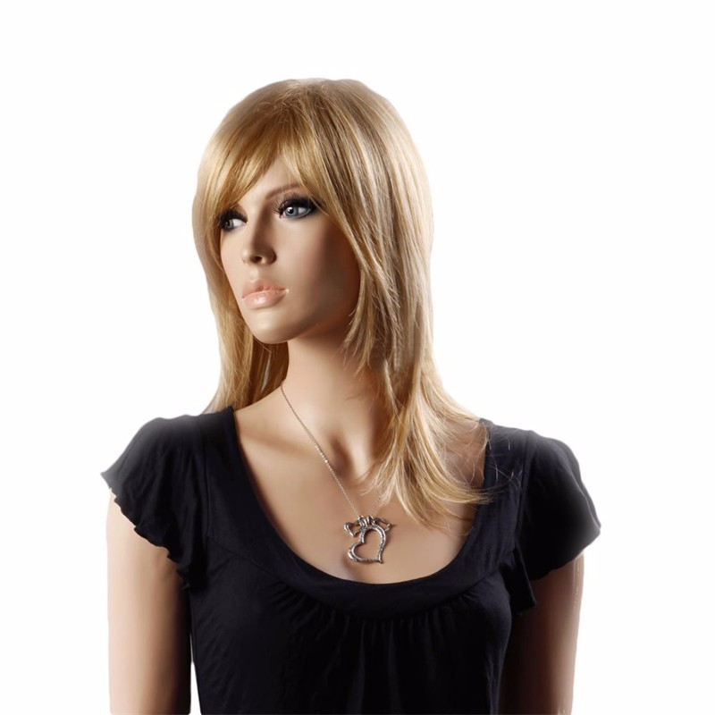 cool medium length gold natural straight side swept fringe bang hairstyle hair style women wig