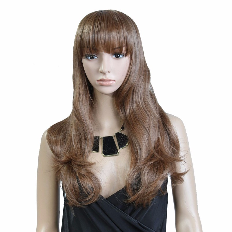 Synthetic natural brown wavy long wig