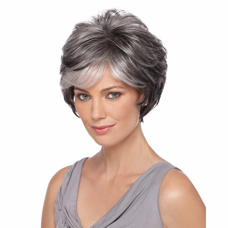 Natural style synthetic Short Gray Wigs