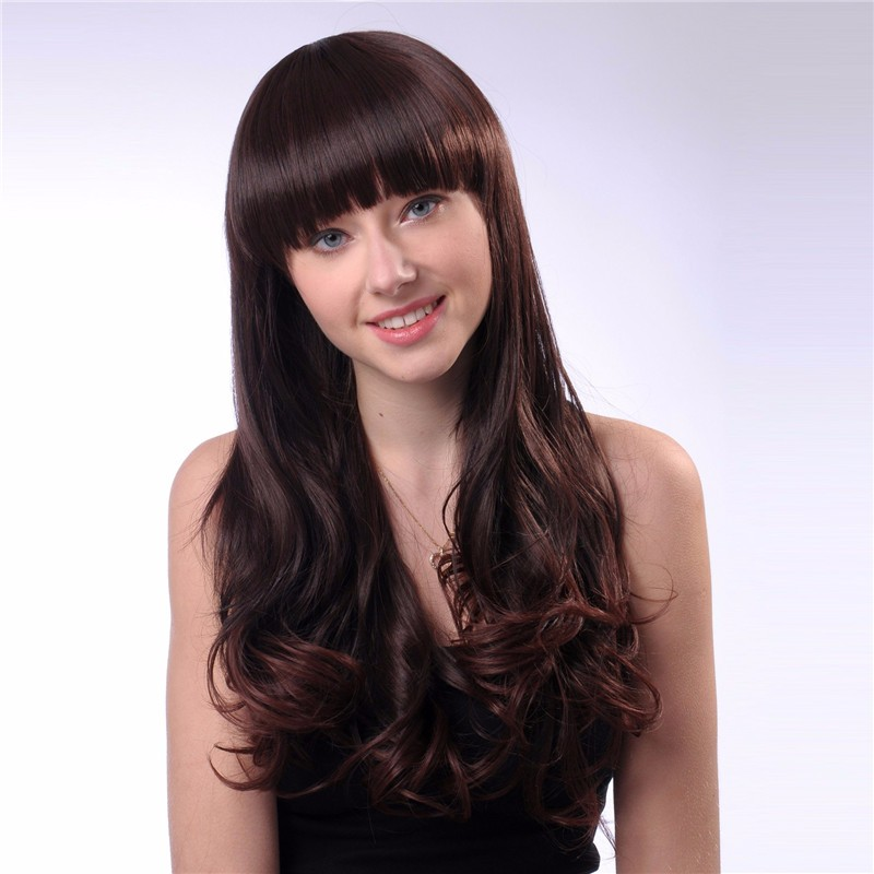 Cute synthetic Long curly full head wig