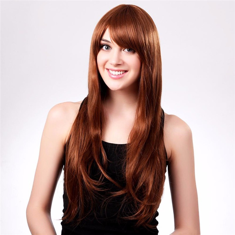 Fashion Golden Brown Side Bangs Long Natural Straight Wigs