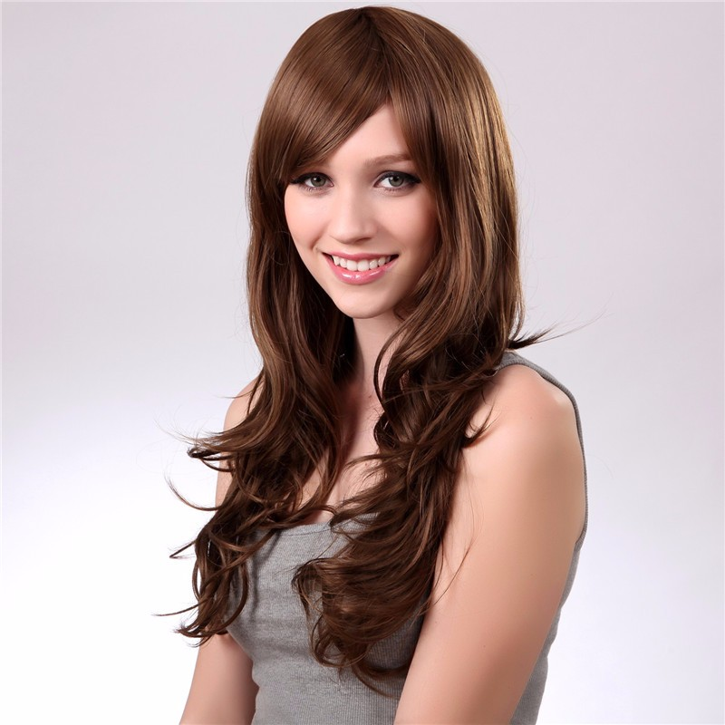Fashion Long Curly Wigs Light Brown Side Bangs