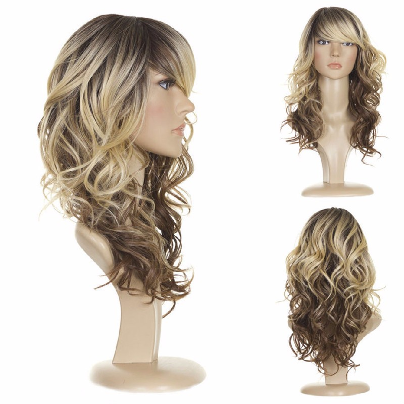 Medium Length Blonde Wigs With Bangs