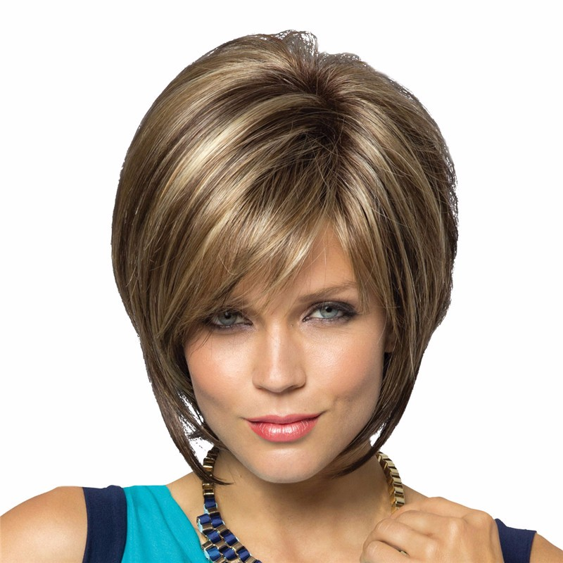 Natural short blonde and brown hair wig