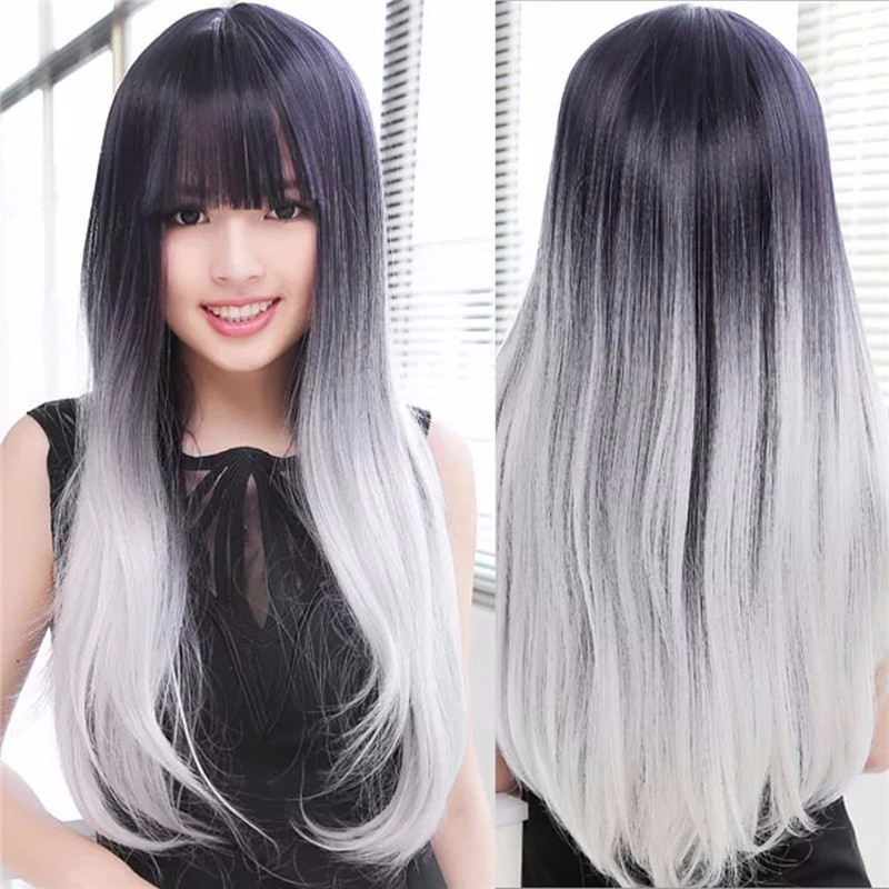 Europe Black and Gray Heat Resistant Hair Wigs