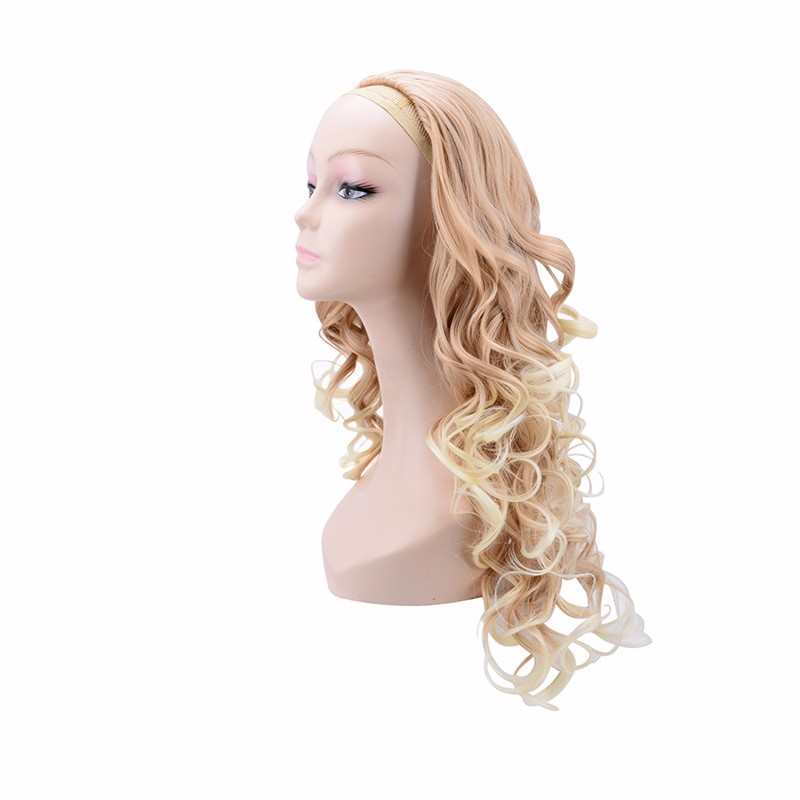 Natural blonde long curly half wig
