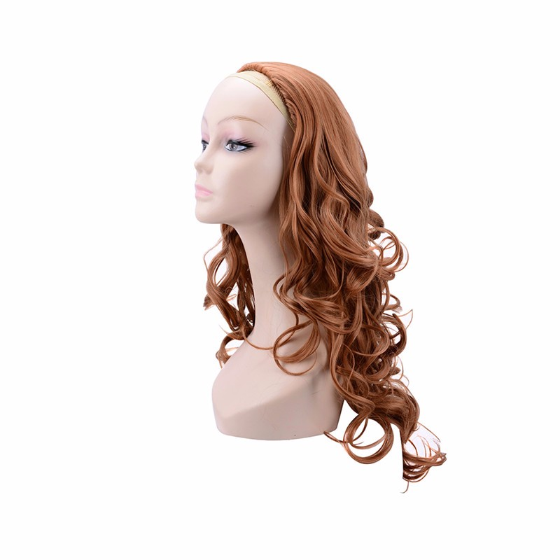 Long curly auburn half wig
