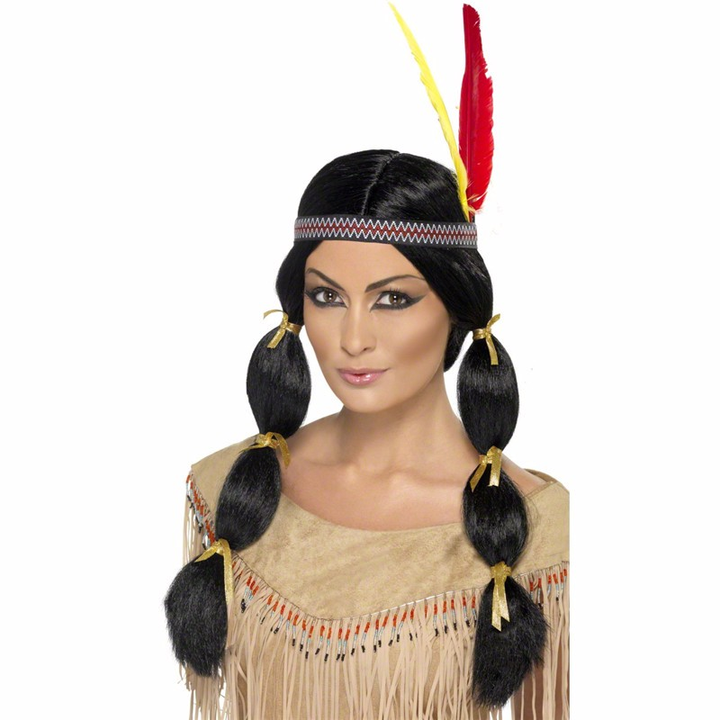 Black Indian Wig Native American Costume wig