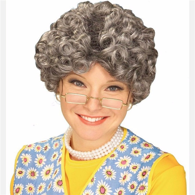Natural curly old lady curly hair wig