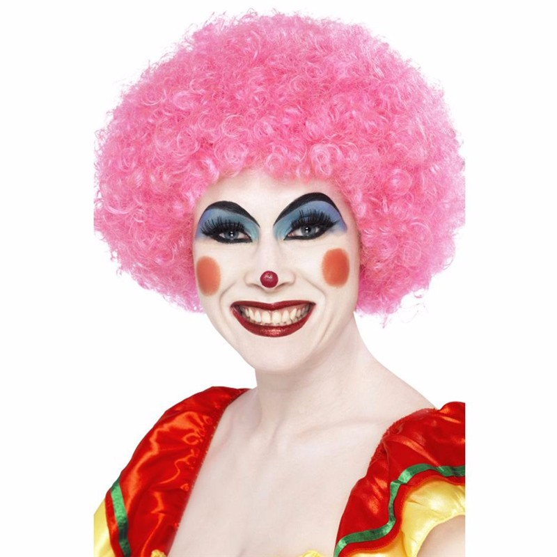 Horror Red Crimped Clown Fancy Dress Accessory Wig