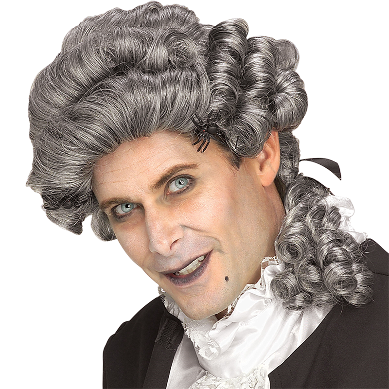 Grey mens colonial wig
