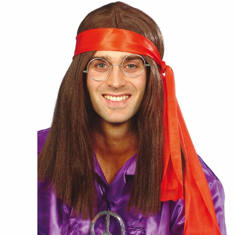 70s fashion Mens Hippy Kit Long Wig
