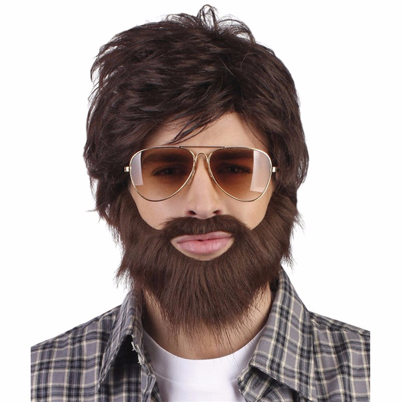 Brown Hangover Wig & Beard