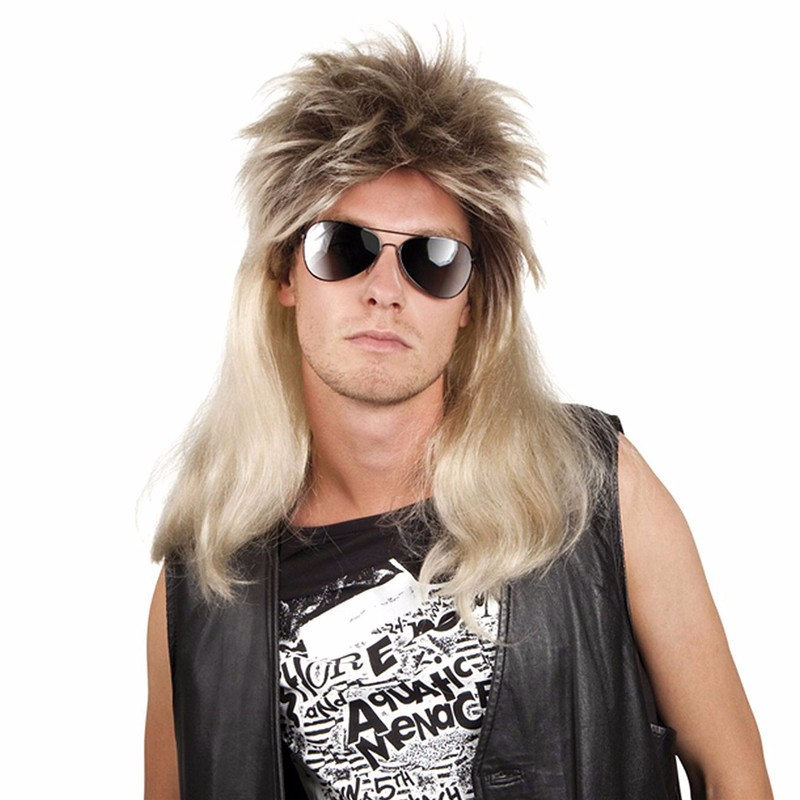 Party wig natural blonde mullet wig pop rock blonde man wig
