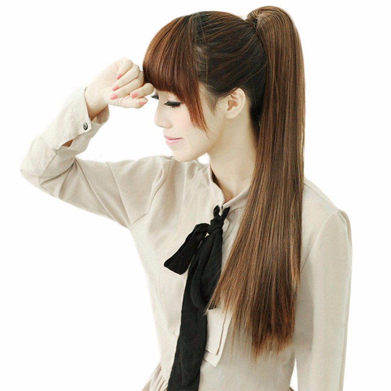 Women Long Straight Synthetic Clip Ponytails
