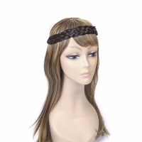 Black elastic braid synthetic hair band