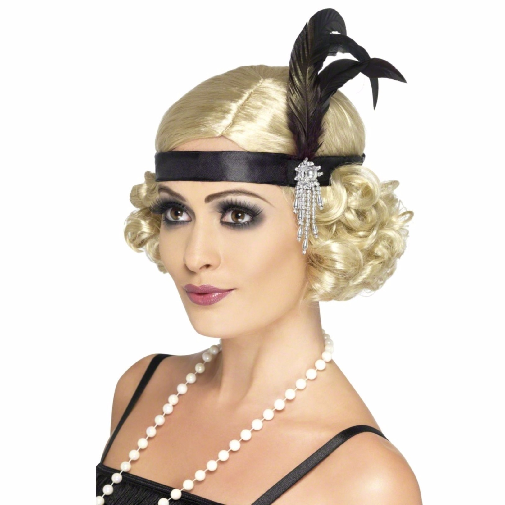 1920s headband wig Ladies Black 20s 30s Charleston Feather Headband 1920s Flapper Moll Fancy Dress and wig
