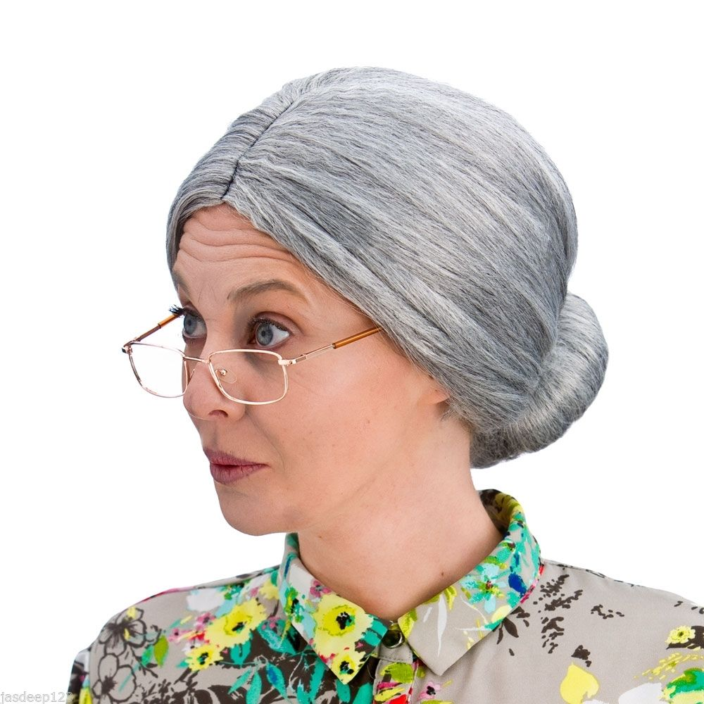 Granny Bun Wig Fancy Dress Costume Old Grey Woman Secretary Grandma Wicked Witch