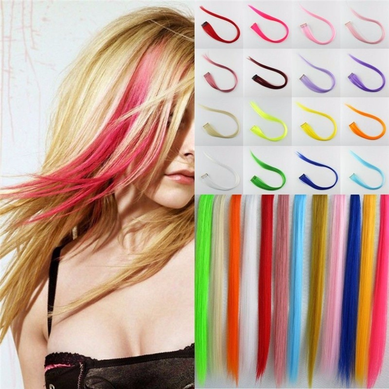 Synthetic straight single clip in hair extension,hair strips