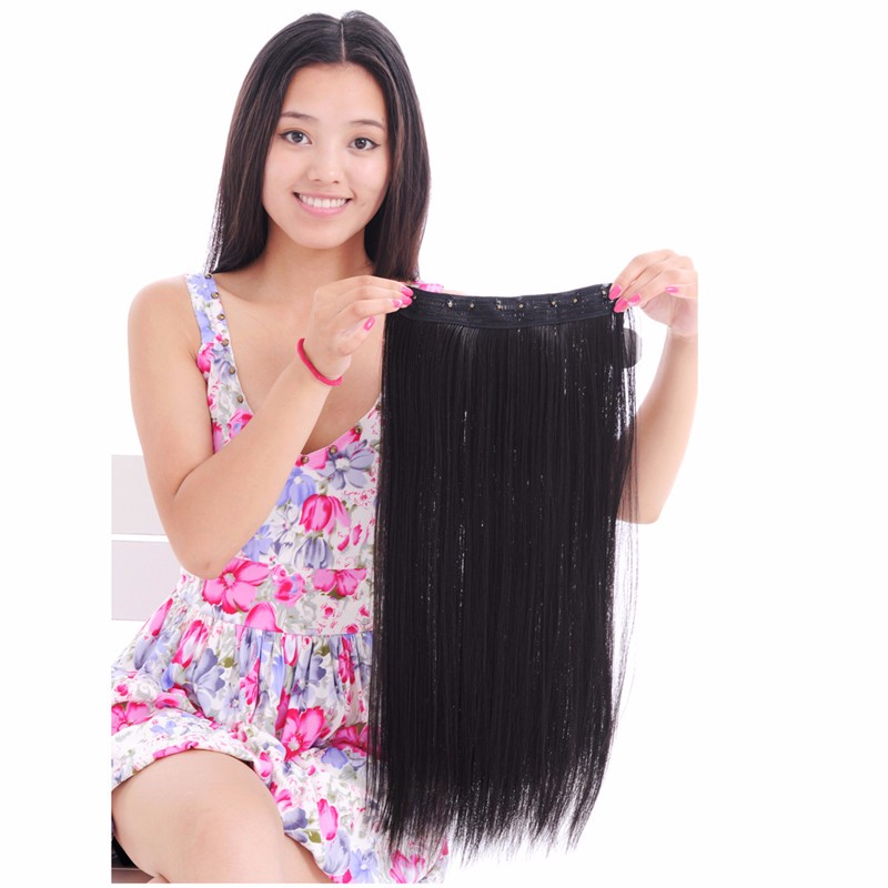 Natural Black Straight synthetic 5 clips hair extension