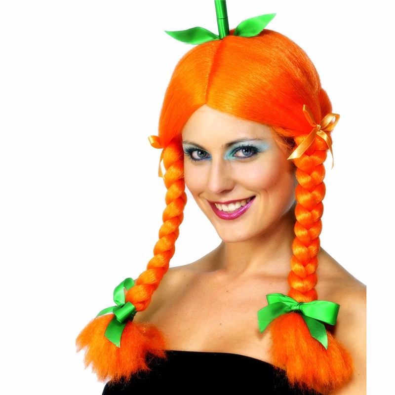 pumpkin wig with plaits and green ribbons orange wig
