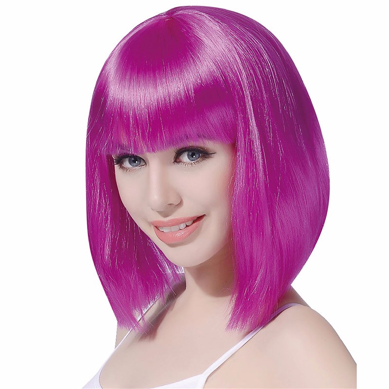 synthetic short bob party Womens purple wig with neat bang
