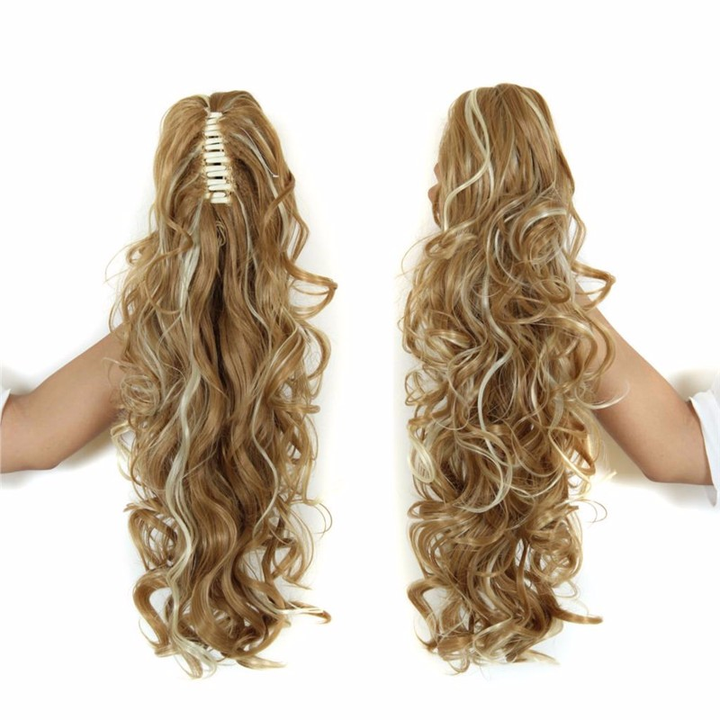 Jaw fixed synthetic ponytails tightly curly highlight blonde ponytails