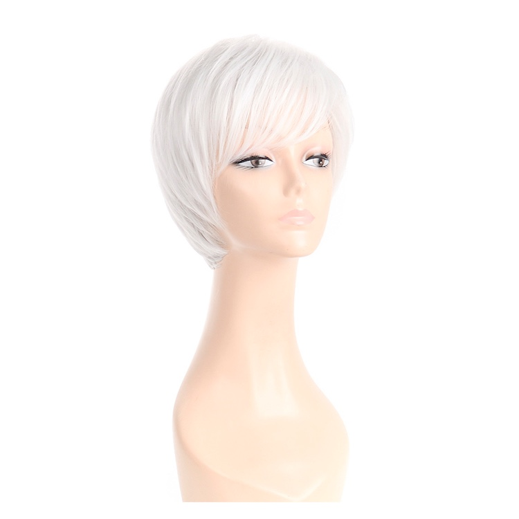 Short white full head wig synthetic short lady wig